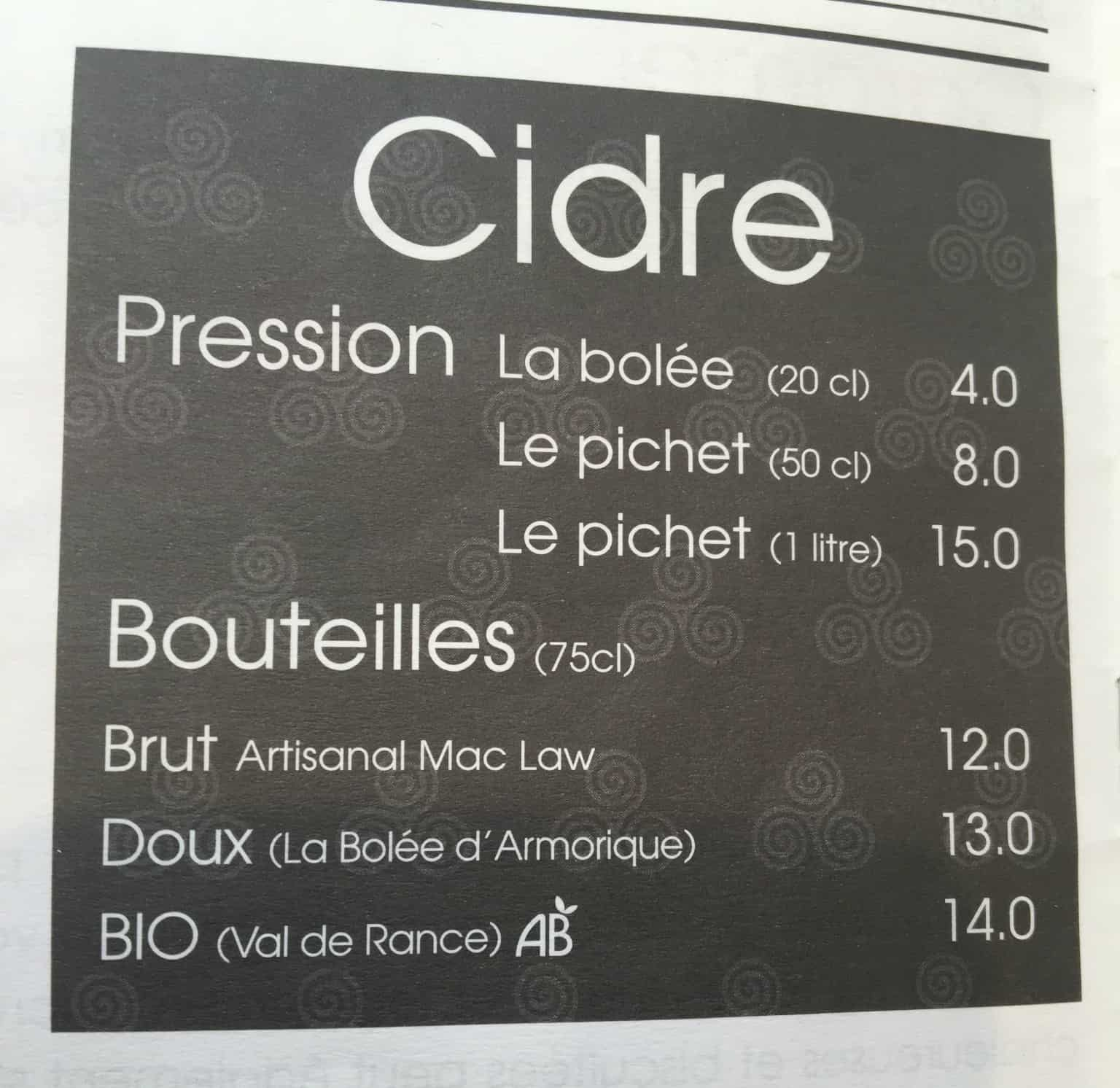 Normandy Cider menu cropped