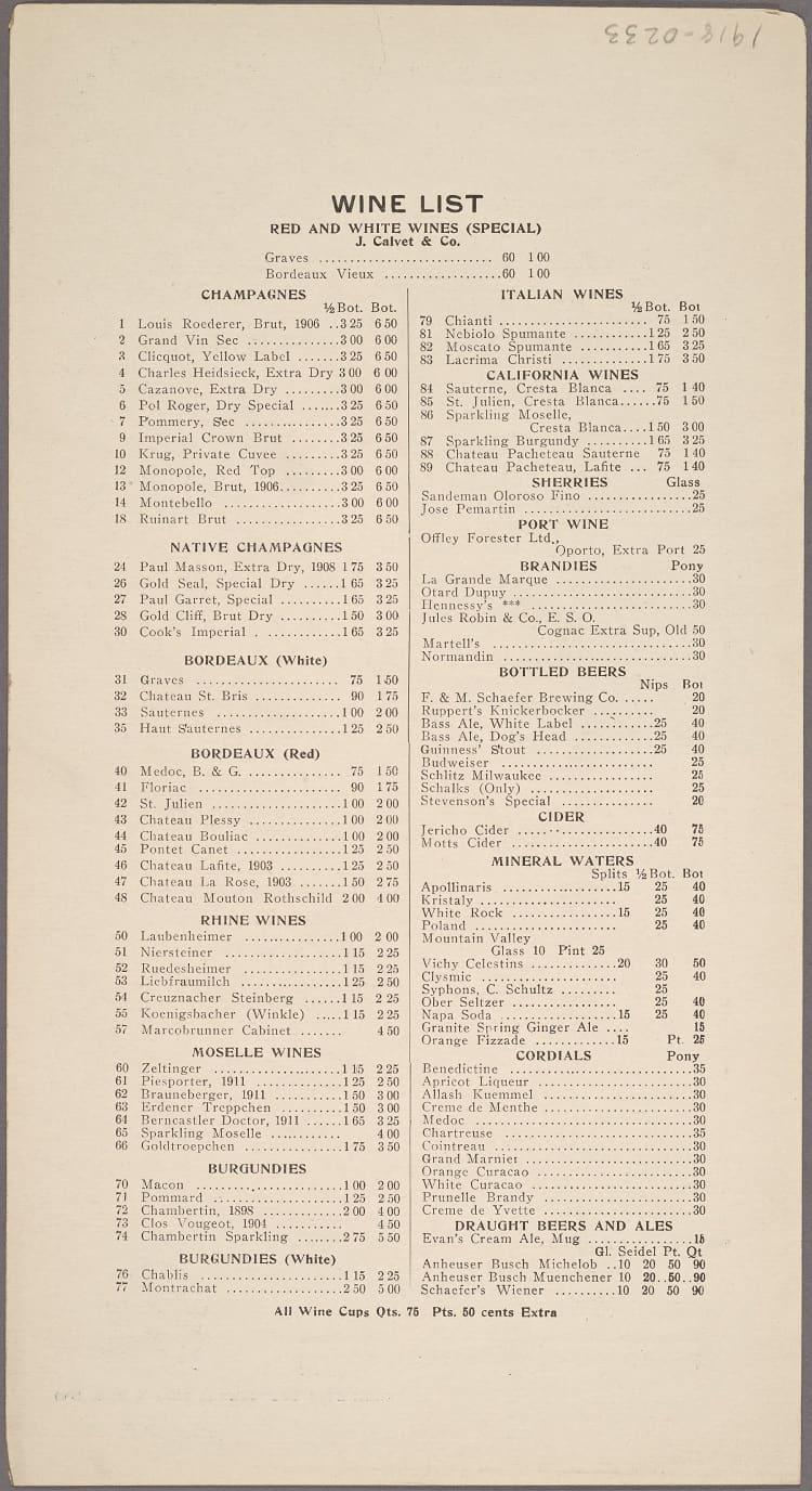 historic restaurant menus