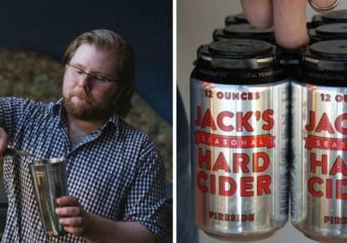 Photo credit: Alexandra Whitney Photography and Mary Bigham; Tags: Jack's Hard Cider, hard cider cans, bartender, hard cider pour