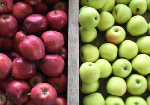 Credit: Mary Bigham Tags: red apple, green apple, apple crate